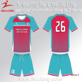 Design de vente chaude Healong Custaom jersey bleu Shirt Unifrom Soccer