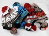 編まれた帽子を編む方法POM POMジャカード