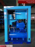 &#160 mû par courroie ; Compresseur de vis de pression d'air avec le réservoir d'entreposage de l'air