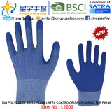13G Polyester Shell Foam Latex Coated Gloves (L1000) Criss-Cross на The Palm с CE, En388, En420, Work Gloves