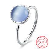 Monili rotondi di modo dell'anello di barretta di Zircon blu dell'argento sterlina 925 per la ragazza