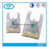 Sac à provisions en plastique de transporteur compostable de gilet
