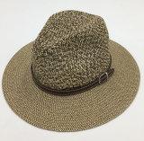 Sombrero de papel Sunhat con la venda de cuero de la corona de la PU asociada (Sh028)