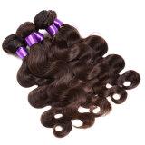 8A加工されていないペルーボディ波の閉鎖レースの閉鎖の閉鎖が付いているペルーの人間の毛髪のよこ糸が付いているペルーのバージンの毛3束の