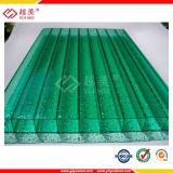 Лист толя зеленого цвета цены листа полости поликарбоната Yuemei Twinwall