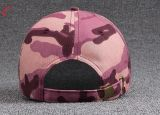 Gorra de béisbol de calidad superior de la tela de la tela cruzada del algodón de Camo para el diseño de encargo de la insignia
