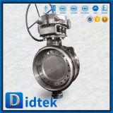 Válvula de mariposa soldada tope cero del acero de carbón de la salida Dn600 de Didtek