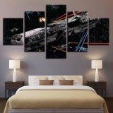 La pintura impresa HD moderna de la sala de estar de la lona representa el marco estrellado del cartel de la decoración del hogar modular del arte de la pared de Star Wars del cielo de los 5 paneles