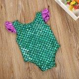 Nixebadeanzug-Mädchen-heiße SprüngeBeachwear der einteiligen Swim-Schutzkappen-Hülsen-Badeanzug-Kinder