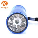 Pequena 9 LED liga de alumínio lanterna portátil lanterna LED