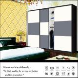 De witte Ingebouwde Moderne Gesloten Garderobe van de Slaapkamer van de Bloem Glijdende