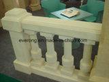 Inferriata ed asta della ringhiera di marmo di pietra naturali del granito della balaustra di Handcarved per il balcone