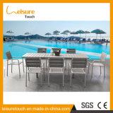 高品質のアルミニウムPolywoodの製造の現代ダイニングテーブルおよび椅子の屋外の庭のテラスのプールの家具