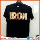 黒い絹の印刷の人の綿のTシャツ