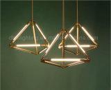 Lámpara decorativa de iluminación pendiente moderna de la suspensión de la oficina del tubo LED Metal&Glass de la geometría
