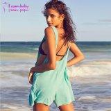Hellgrüner Sleeveless erwachsener Strand-Spielanzug der Plusgrößen-Form-Frauen