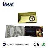 Cutomized день рождения LCD 2.4 дюймов благословляя видео- карточку с горячий штемпелевать