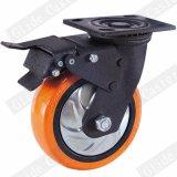 Рицинус померанцового колеса полиуретана сверхмощный промышленный с тормозом