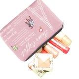 Saco cosmético do cosmético do malote da composição da cópia cor-de-rosa da torre Eiffel de Paris