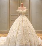 Крышка Sleeves Bridal платье венчания 2018 W17811 цветков шнурка 3D сборок мантий