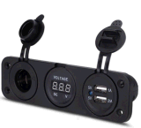 Plot rouge de courant de tension de véhicule de camion du bateau 2 de trou du chargeur duel imperméable à l'eau DEL DC12V du panneau 3.1A USB