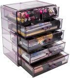 Los cosméticos maquillaje y joyas Caja de almacenamiento 4 grandes y 2 pequeños cajones espacio caja multifunción