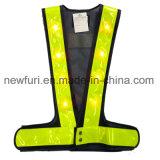 Maglia di visibilità della poltiglia LED di formato alta della maglia nera registrabile di sicurezza