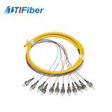 12core Sc/Upc 1310/1550 Pigtail da fibra de Singelmode para ODF