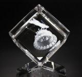 ミニチュア3Dレーザーの彫版の水晶の置物