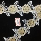 7cmの花の結婚式の花嫁のガーターのヘッドバンドの服のレースHme852のための花の金の刺繍のレースのトリム