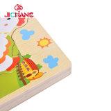 Jouets éducatifs de poulet d'évolution de poule de dessin animé d'enfants en bois de puzzle