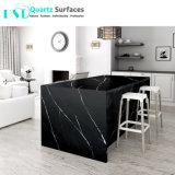 Nouveau look Noir Marquina Quartz artificielle de dalles de pierre avec veines blanches