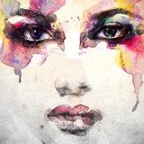 De reeks van de Abstracte Druk van het Canvas van Vrouw Twee met schittert