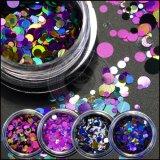 Laser Holo Ronda Glitter lentejuelas tamaño mixto, DIY Nail Art hojuelas