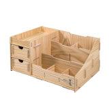 Bricolaje madera organizador de escritorio con cajones y divisores múltiples