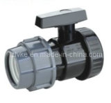Válvula/una válvula de la unión (GT242) del negro de la válvula del estándar/de la agricultura de la vávula de bola de la unión del PVC del plástico sola F*M-BSPT