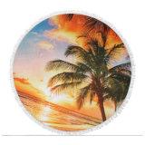 Broderie personnalisée de surfer sur la modification de serviette de plage ronde