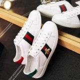 Les hommes en cuir blanc unisexe Sneaker, broderie personnalisée femmes Sneaker