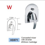 Griff-Gesichts-Wäsche-Bassin-Messingbadezimmer-Hahn mit Wasserzeichen und Wels aussondern
