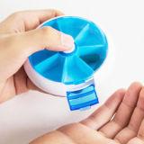 Runder Arbeitsweg-Pille-Organisator-Halter-wöchentlicher Plastik 7 TagPillbox