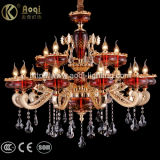 Goldene Zink-Legierungs-rotes Glaskristallleuchter-Licht