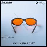 Laser da alta segurança que protege óculos de proteção de segurança do laser dos vidros para 532nm os lasers verdes 200-540nm O.D5+ com frame cinzento 55