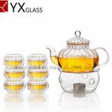 POT del tè di vetro di Borosilicate con il filtro di vetro/Carafe di fioritura 600ml della teiera/acqua della zucca dell'insieme di tè del caffè del POT del tè