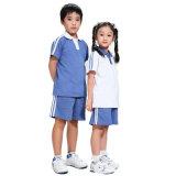 工場綿の青い小学校の均一ポロTシャツおよびズボン