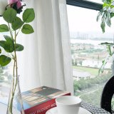 백색 면 리넨 보일 침실 (18F0114)를 위한 투명한 커튼 직물