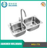 Aço Wb2-770 inoxidável 304 dissipadores de cozinha dobro da bacia