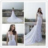 レースの花嫁衣装の薄い背部ウェディングドレス(夢100102)