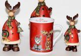 Mok van de Liefde van Kerstmis de Ceramische, de Ceramische Mok van de Koffie met Deksel