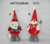 "13 ""H Standing Santa and Snowman, 2 Décoration Asst-Christmas"