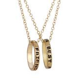 Melhores amigos para sempre Colar de pingente de anel Bff Carta de amizade Gravado Pendente de círculo Colar Prenda de jóias